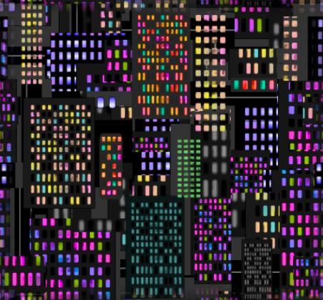 Neon city lights seamless repeating background tile
