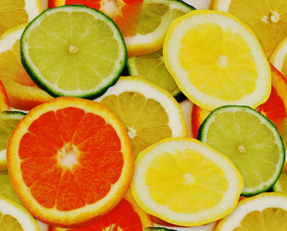 Very large orange, lemon and lime slices seamless web background or wallpaper