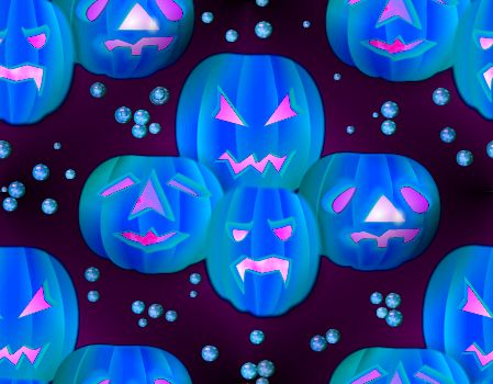 Halloween blue lanterns seamless repeating background
