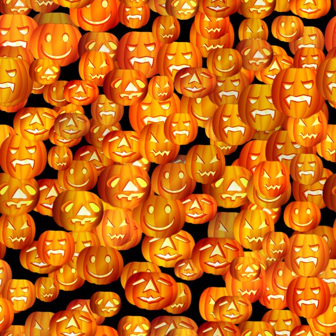 Halloween Attack of the Pumpkins 666 x 666 seamless repeating background