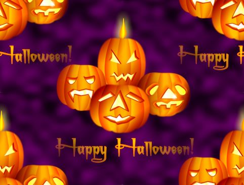 Happy Halloween Purple Background Repeating