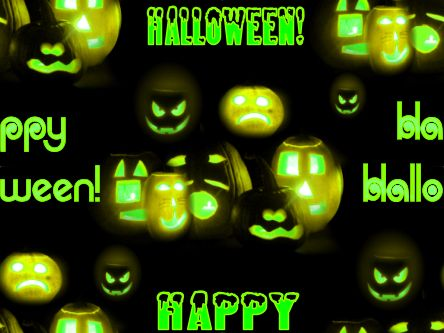 Happy Halloween Spooky Green Seamless Repeating Background Image