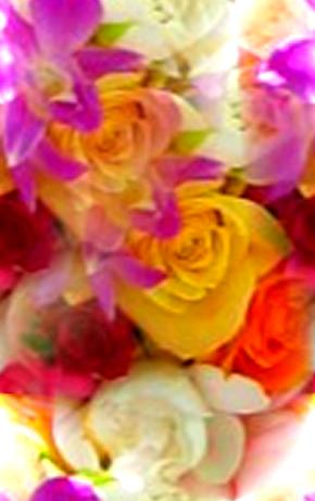 Mixed Colorful Flowers & Yellow Roses Seamless Background Tile