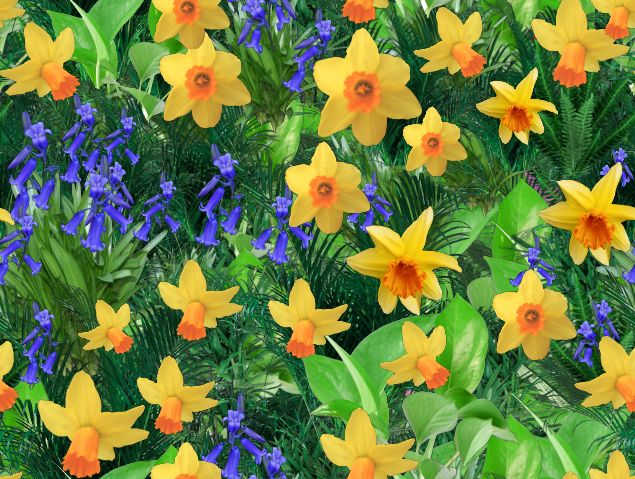 Daffodils & Bluebells Spring Seamless Repeating Background