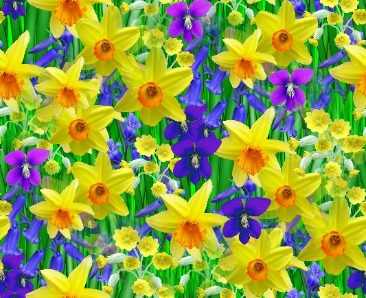 Spring Flowers Seamless Repeating Background Image