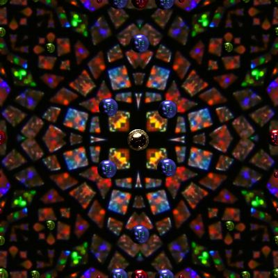 Stained glass mandala seamless repeating tile