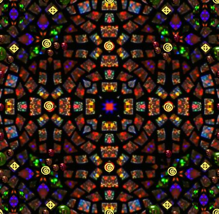Magic & Miracles stained glass mandala seamless background