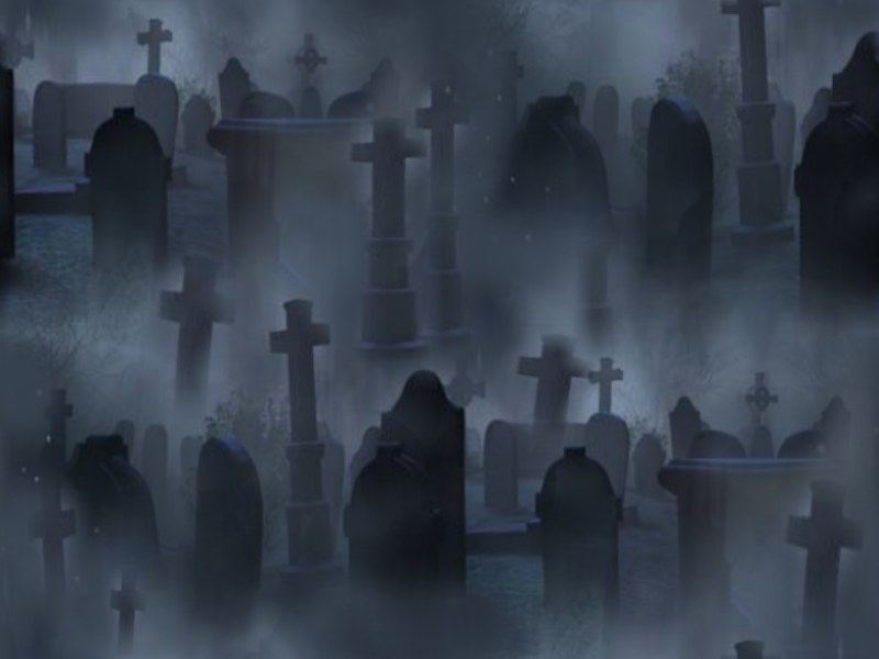 Graveyard Seamless Repeating Background Image Black