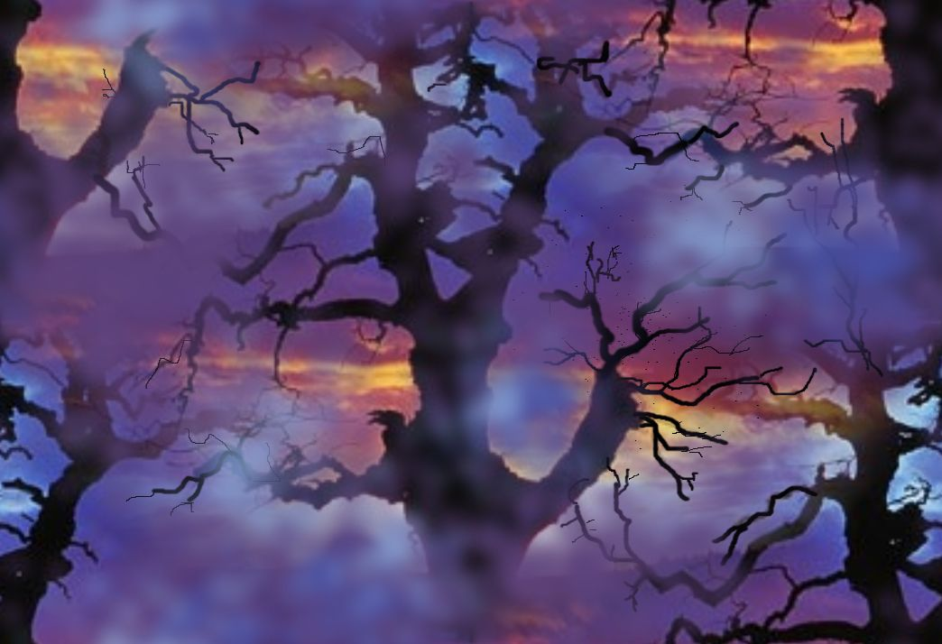 Vampire Spooky Tree Seamless Repeating Background Large
