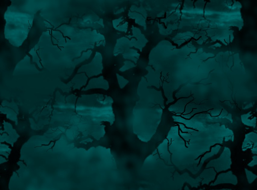 Spooky Trees Jade & Black Seamless Repeating Background