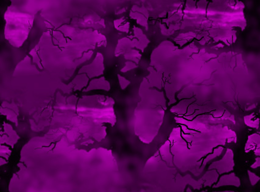 Spooky Trees Purple & Black Seamless Repeating Background