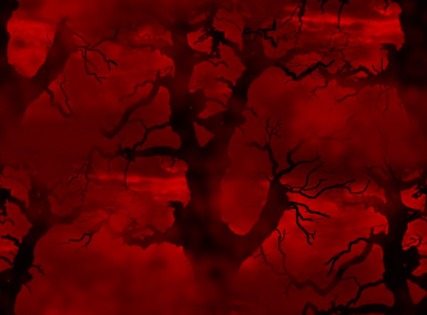 Spooky Trees Red & Black Seamless Repeating Background Image
