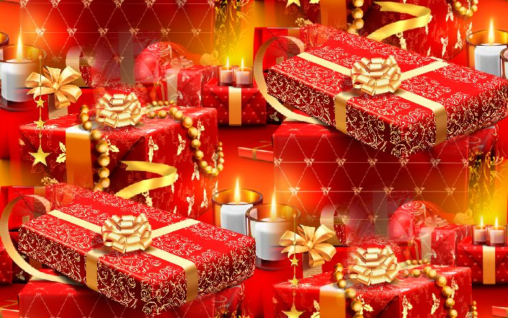 Christmas Presents Red Seamless Repeating Background Image