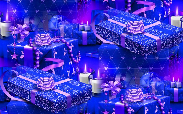 Christmas Presents Blue Seamless Repeating Background Image