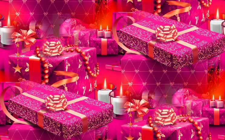 Christmas Presents Pink Seamless Repeating Background Image