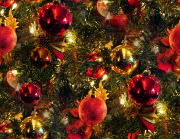 Christmas Tree Baubles Seamless Repeating Background Image