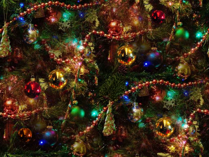 Christmas Tree Colorful Decorated Background Seamless Repeating