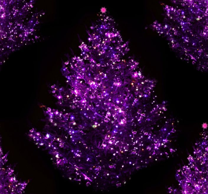 Purple Christmas Tree Seamless Background